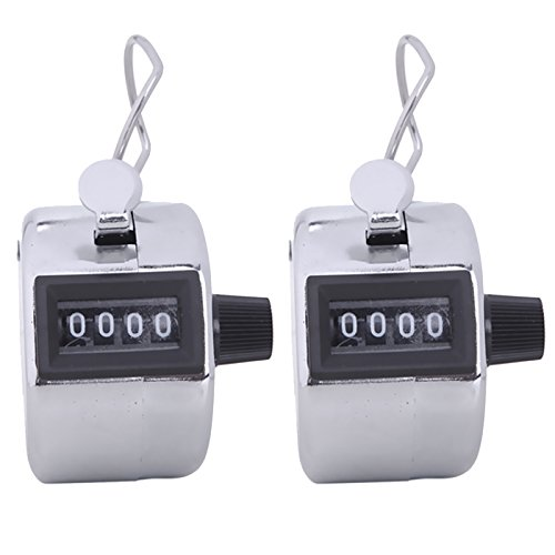 HDE Handheld 4 Digit Number Counter Mechanical Tally Lap Tracker Manual Clicker (Chrome) - 2 Pack