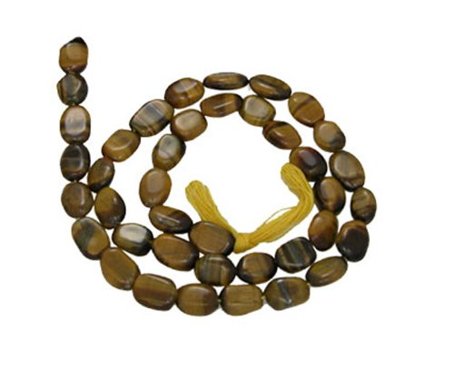 Tiger Eye Flat Beads Plain Oval Loose Strand Opaque Stone Fancy