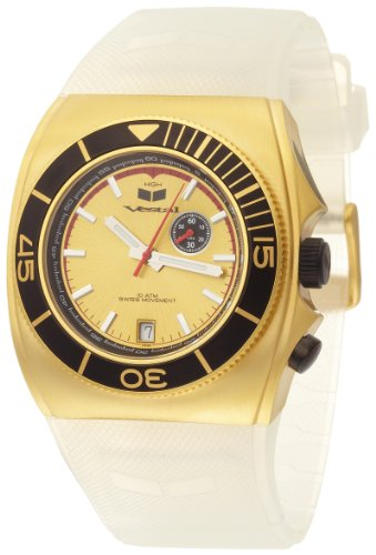 Vestal Men's SHV006 Shiv Clear PU Gold Ion Plated Tide Surf Watch