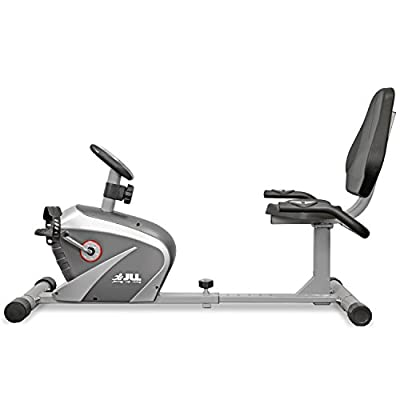 JLL® Home Recumbent Exercise Bike RE100, 2016 New Magnetic resistance exercise bike fitness Cardio workout with adjustable resistance, 4KG two ways fly wheel, console display with heart rate sensor, 6-level seat adjust, 12-month warranty.