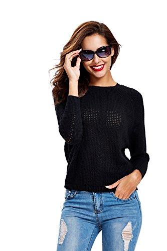 Women Long Sleeve Round Neck Basic Soft Knit Cardigan Sweater - Black