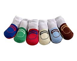 JazzyToes Baby 6 Pair Socks Loafers - Boys, 0-12 Months