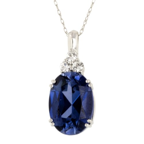 10k White Gold Created Ceylon Sapphire and Created White Sapphire Pendant, 18""