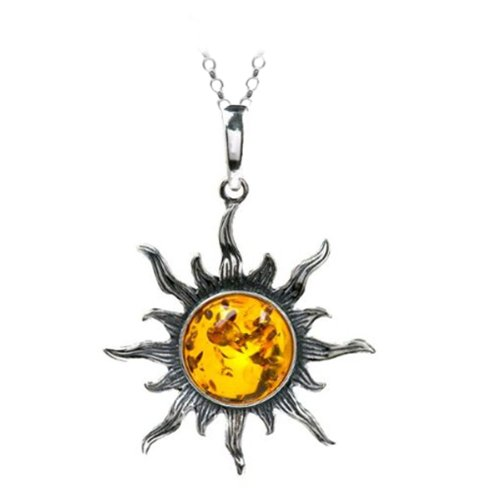 Certified Genuine Baltic Honey Amber and Sterling Silver Flaming Sun Medium Pendant, 18