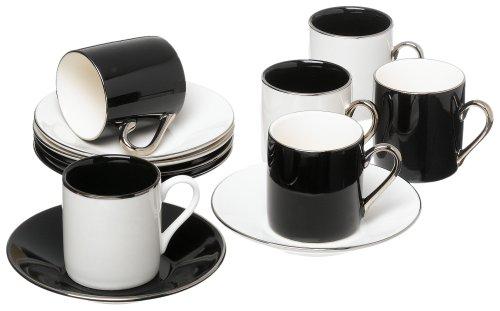 Saucer Set: Yedi Houseware Classic Coffee And Tea Black And White ...