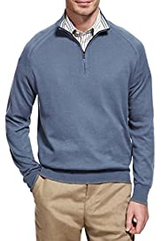 Cotton Rich Zip Neck Jumper with Cashmere [T30-1195C-S]