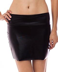 Clothes Effect Black Shiny Liquid Mini Skirt Elastic Waist Band, USA Made
