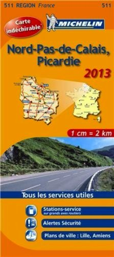 Michelin Tear-Resistant Map #511 Nord-Pas de Calais