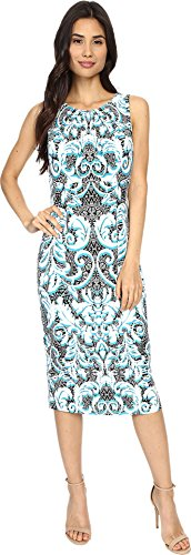 London Times Women's Scroll Overlay Pleat Neck Sheath Soft White/Blue Dress 8