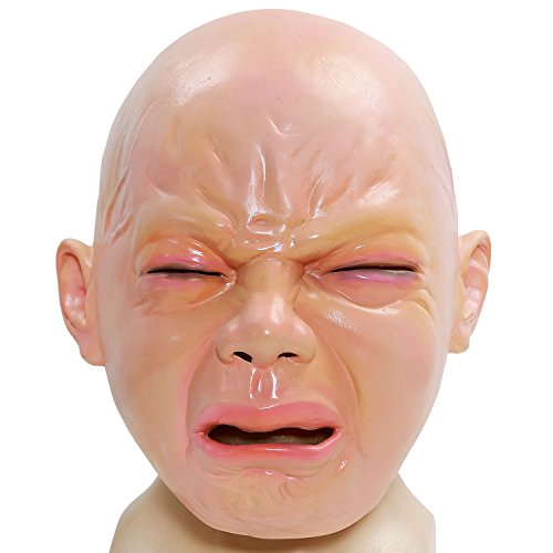 XCOSER Adult Creepy Crying Baby Mask Full Head Helmet for Masqurade Halloween Party