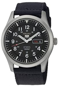Seiko Men's SNZG15 Seiko 5 Automatic Black Dial Nylon Strap Watch