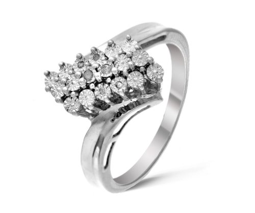 Stunning 925 Sterling Silver Ladies Cluster Diamond Ring Brilliant Cut 0.05 Carat I-I1 Size K