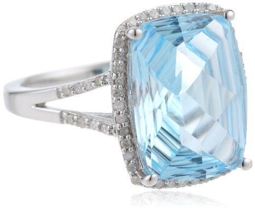 Sterling Silver Concave Cut Sky Blue Topaz and Diamond Cushion Ring, Size 7