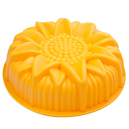 Marathon Housewares Premium Silicone Sunflower Cake Pan, Yellow Kw200023