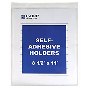 C-Line Self-Adhesive Shop Ticket Holders, 8.5 x 11 Inches, Clear, 50 per Box (70911)