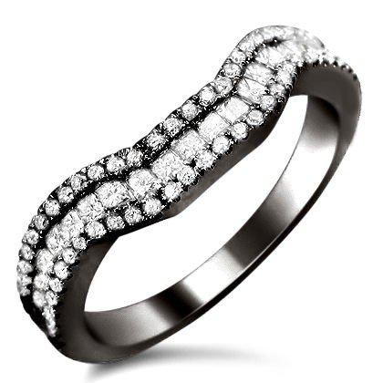.90Ct Princess Cut Cure Diamond Wedding Band Ring 18K Black Gold Rhodium Plating Over White Gold