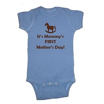 Festive Threads It's Mommy's First Mother's Day (Rocking Horse) Baby Bodysuit (Carolina Blue, Newborn)