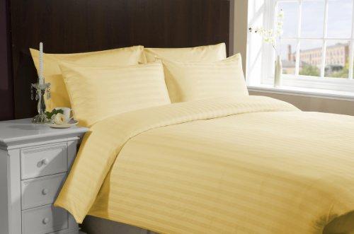 Lacasa Bedding 500 Tc Egyptian Cotton Duvet Set Italian Finish Stripe (Short Queen (Rv-Bunk), Gold) front-328773