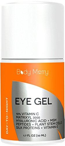 Eye Gel Cream for Dark Circles, Puffiness & Wrinkles - Vitamin C + Matrixyl 3000 + Hyaluronic Acid + MSM + Peptides + Plant Stem Cells - Best Anti-Aging Moisturizer - 1.7 oz - By Body Merry