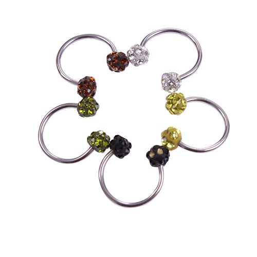 """Surker Lots Of 5 16G 3/8"""" Surgical Stainless Steel Horseshoe Circular Barbell With Crystal Ball"""