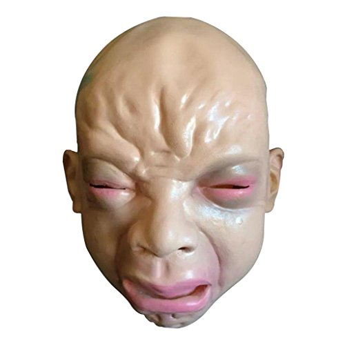 Leewos Flesh Color Natural Latex Nontoxic Halloween Cry Face Mask Full Face Mask Suitable for Halloween Masquerade Party Christmas Easter Birthday Parties and Other Special Occasions DIY (Horror Flesh Grey Makeup)