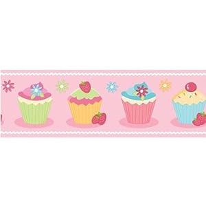 Fine Decor Cute Cupcake Childrens Kids Wallpaper Border by Fine Decor