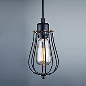 Buyee Vintage Light Bulb Retro Industrial Edison 1 Light Metal Shade Ceiling Pendant Lamp Fixture Black With bulb by Shenzhen Buyee Trading Co.,Ltd