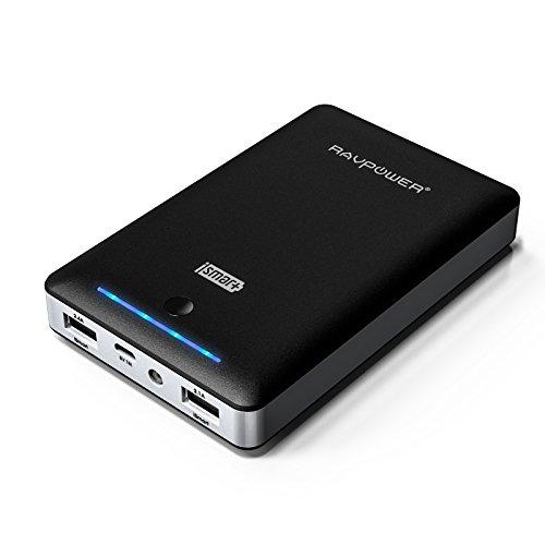 RAVPower第三世代 Deluxe iSmart機能搭載 15000mAh大容量モバイルバッテリー 2USBポート 急速充電可能 1年間の安心保証iPhone6plus/65S/ 5C/ 5/ 4S・iPad Air/mini・各種タブレット・Galaxy・Xperia・各社Androidスマホ/ウォークマン等マルチデバイス対応(ブラック)(日本語説明書付) RP-PB19