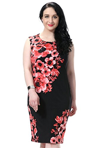 Chicwe Women's Plus Size Lined Placement Print Shift Sleeveless Dress (US16