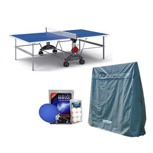 Best Review Of Kettler Top Star XL Weatherproof Table Tennis Table with Outdoor Accessory Bundle