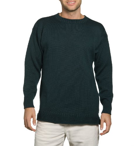 Mens Crew Neck Guernsey Jumper Bottle Green Extra Extra Large