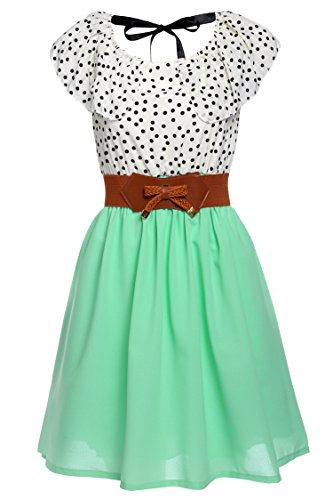 Zeagoo Women Chiffon Summer Dots A-line Pleated Party Cocktail Dress With Belt,Light Green,Large