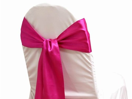 MDS Pack of 50 satin chair sashes bow sash for wedding and Events Supplies Party Decoration chair cover sash -Magenta