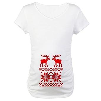 CafePress Moose Sweater Christmas Pattern Maternity Tee