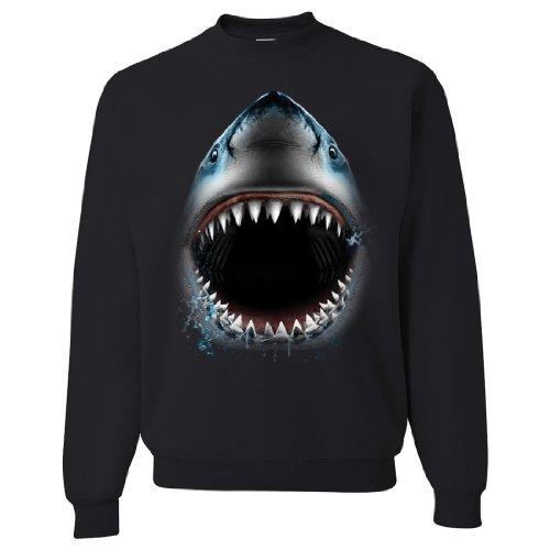 Great White Shark Bite Crewneck Sweatshirt By Dsc - Black X-Large front-327466