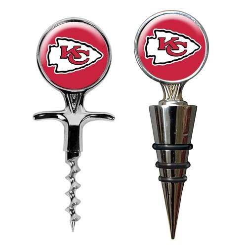 Nfl Kansas City Chiefs Cork Screw And Wine Bottle Topper Set, Metallic Silver back-637664