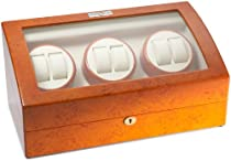 Diplomat 31-417 Burl Wood Six Watch Winder with Off-White Leather Interior