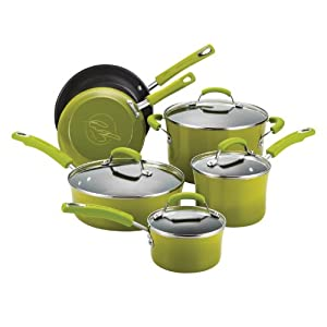 Rachael Ray Porcelain Enamel II Nonstick 10-Piece Cookware Set, Green Gradient