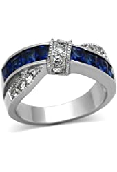 Stainless Steel Blue Princess Cut Sapphire-Simulated Wedding Women size 5-10 SPJ