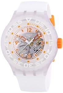 Swatch SUUW100 Clownfish Oragne Transparent Dial White Silicone Men Watch NEW