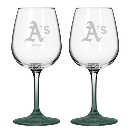 Mlb Oakland Athletics Satin Etch 2-Ounce Wine Glass (Pack Of 2) front-519034