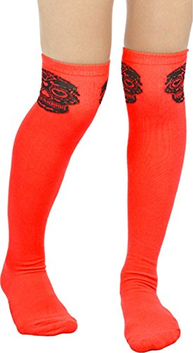 Red & Black Sugar Skull Muerte Thigh High Socks from Sourpuss Clothing