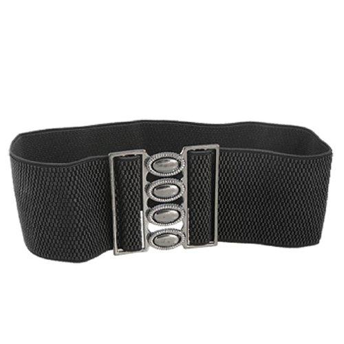 Woman Interlocking Closure Buckle Stretch Black Cinch Belt