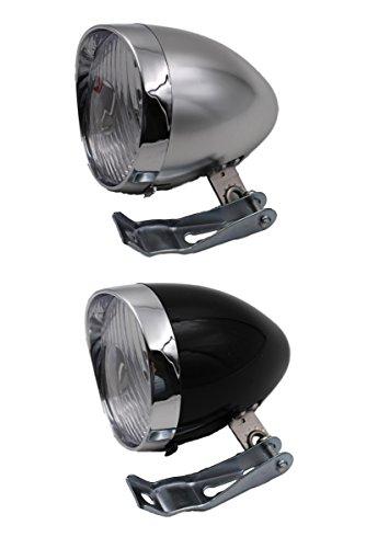 LED 5灯 だから 明るい 安全 しかも おしゃれ で かっこいい レトロ 砲弾 型 自転車 フロント ヘッド ライト 簡単 取付 配線 不要 電池式 クラシック 【取付金具2タイプセット】 TI054 ティーアイモール