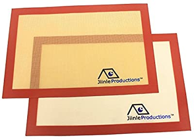 Silicone Baking Mat - Set of 2 (Large size 11.6x16.5 inches) Nonstick Heat Resistant Oven and Toaster Oven Liners for Cookie Sheets - Easy to Clean and Reusable - FDA Approved - Professional Grade Bakeware Mats by Jiinle Productions