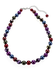 M&S Collection Pearl Effect & Multi-Faceted Necklace