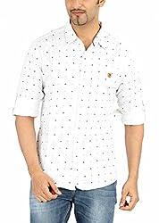 Spykar White Printed Casual Shirt(Size:L)