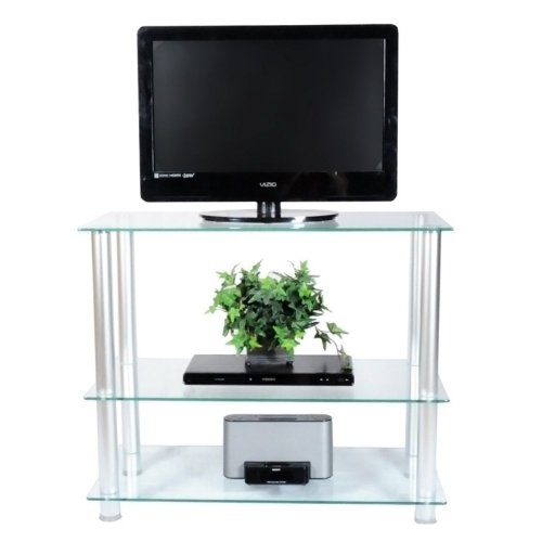 Rta Home And Office 35 Inch Extra Tall Glass Aluminum Lcd And Plasma Tv Stand