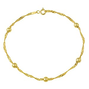 18k Yellow Gold Plated Sterling Silver Singapore with 4mm Bead Stations Chain Anklet, 9