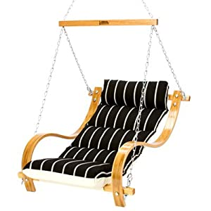 Hatteras Hammocks SOB03A Artist Series Deluxe Cushioned Single Swing with Oak Arms, Classic Black Stripe